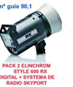 PACK 2 ELINCHROM STYLE 600 RX DIGITAL + SYSTEMA DE RADIO SKYPORT